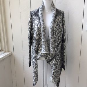 Tobi black grey and white a-line cardigan